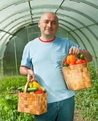 man with vegetables harvest