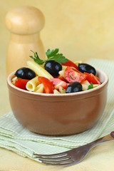 Italian salad with pasta olives and tomatoes