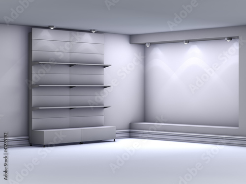 3d stands with niche for exhibit in the grey interior