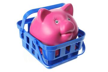 Piggy Bank in Basket