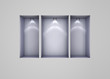 3d empty niches with spotlights for exhibit