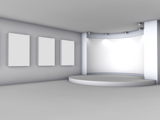 3d empty niche with boxes and spotlights for exhibition