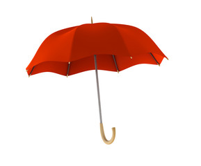 Red umbrella on white background