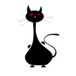 cat black funny illustration vector