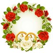 White and red rose circle wedding frame