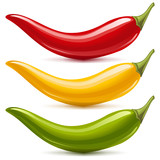 Hot chilli pepper vector set. Red, yellow and green