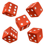 Red dice set. Vector icon