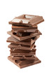 stack of chocolate blocks, isolated on white