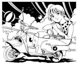 スクーターと少女