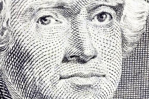 Macro of Thomas Jefferson on the US two dollar bill.