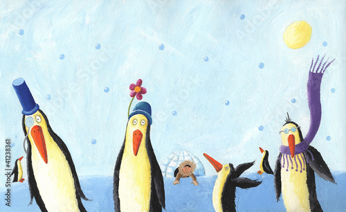 A group of silly penguins