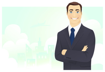 Cheerful businessman with arms crossed