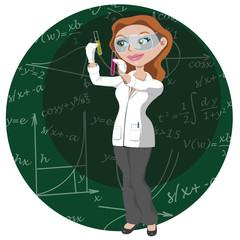 Mujer científica trabajando con tubos de ensayo