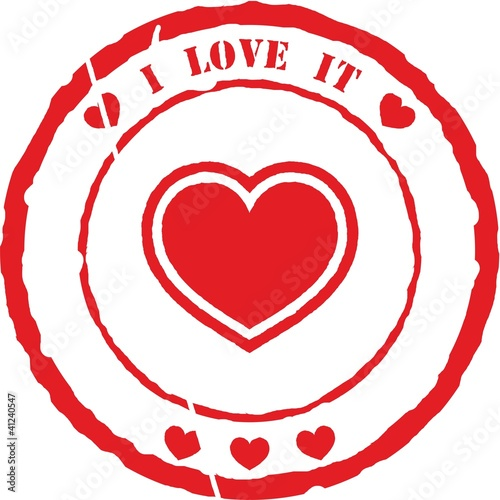 """I love it"" rubber stamp vector"