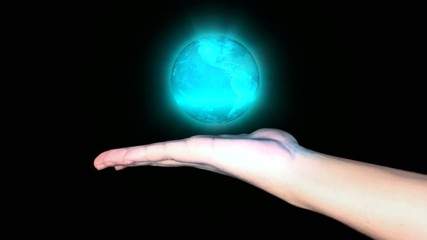 Holographic Earth on a hand