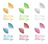 3D colored half circles logo