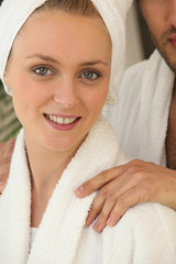 blonde woman wearing a dressing gown