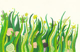 Cute dwarfs poking out of grass poster
