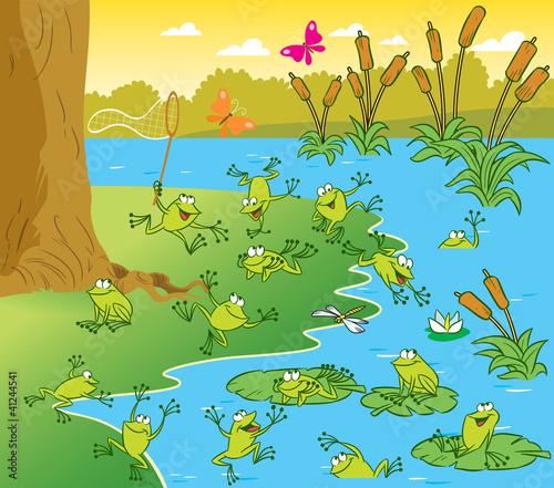 青蛙池塘简笔画