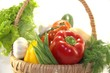 Fresh bright vegetables in the basket