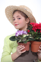 Girl with potted plants