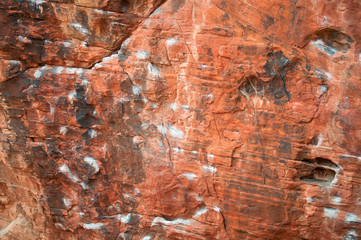 Rock Climbing Routes with Chalk left from Climbers