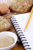 pumpkin seed roll and a booklet for notes poster