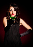 Vintage woman in retro dress with absinthe . Pin-up girl poster