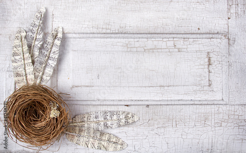 Paper feathers and nest on antique panel