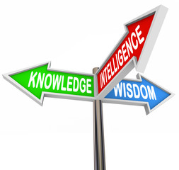 Knowledge Intelligence Wisdom Words on Arrow Signs