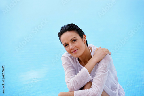 Woman near a swimming pool
