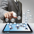 business man hand touch business success diagram glass icon
