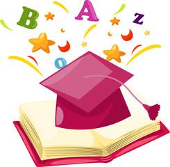 graduation cap with open book