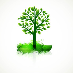 abstract colorful green tree for best design