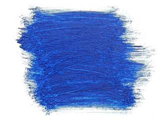 blue stroke of the paint brush isolated on white