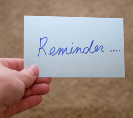 Reminder Note Card