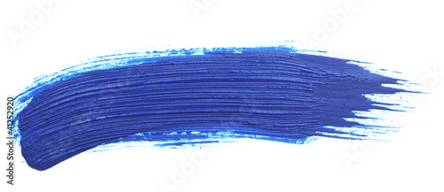 blue stroke of the paint brush isolated on white - 41252920