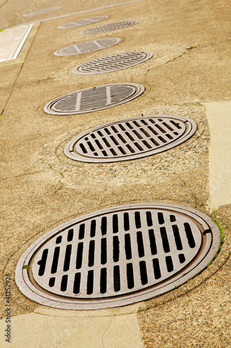 Line up of Sewer Drains
