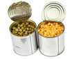 Corn and peas in tins