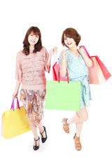 Beautiful shopping women. Portrait of asian women.