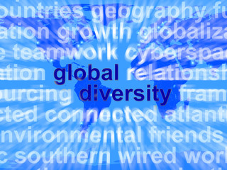 Global Diversity Words Showing Diverse Ethnic People Worldwide