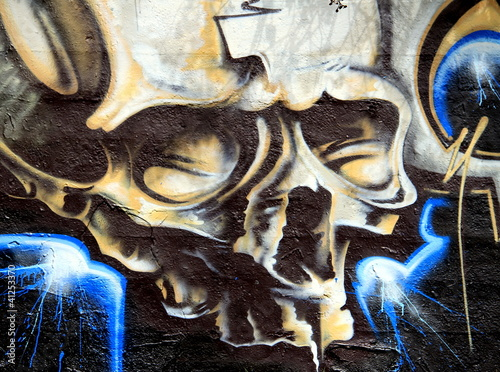 Fototapeten,graffiti,zarenpalast,skelett,ausdruck