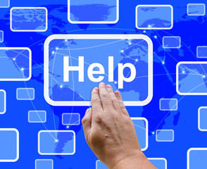 Help Button Showing Assistance Support And Answers