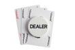 Dealer with joker casino cards over white