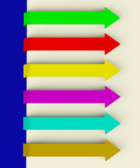 Six Multicolored Long Arrow Tabs Over Paper For Menu List Or Not