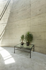 beautiful modern house in cement, interior, detail large room