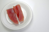 Fresh, raw albacore steaks