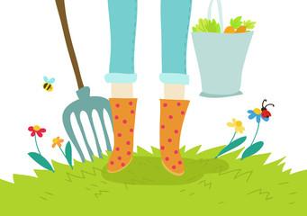 giardino e orto illustrazione concept