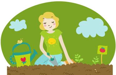donna pianta piantine di pomodoro