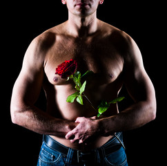 Man and rose